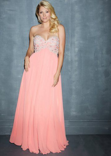 Coral Strapless Sequin Top Long Plus Size Prom Dress -4843