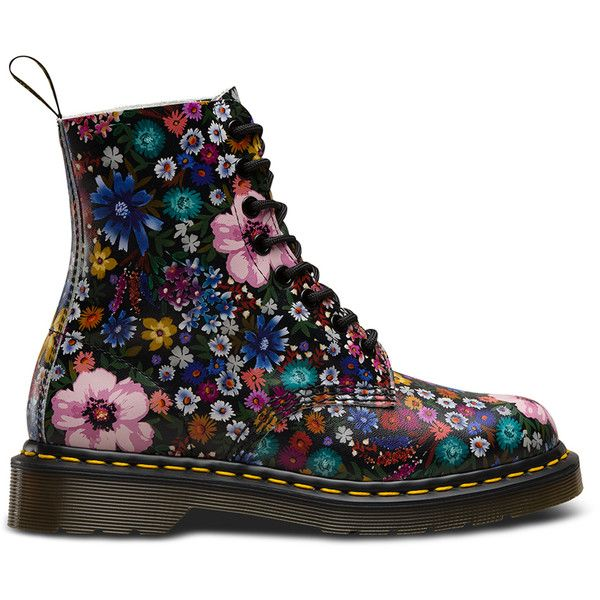 1460 PASCAL WANDERLUST New Arrivals (9,220 INR) ❤ liked on Polyvore featuring shoes, boots, genuine leather shoes, floral shoes, yellow leather shoes, leather shoes and flower print shoes