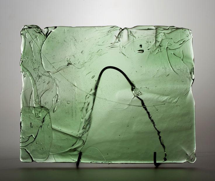 Lubomir Blecha, the glass relief, 1969, Novy Bor (Haida), M: 32,0 x 40,0 cm, Czechoslovakia