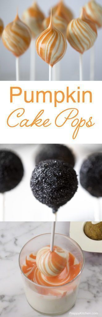 Easy and delicious pumpkin cake pops coated in white chocolate and swirled with orange or dusted in black sanding sugar. Click over for the video and recipe!