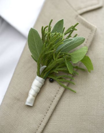 Sage and juniper boutonniere.