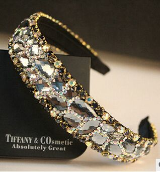 fashion jewelry Sparkling crystal shine gauze ribbon bride hair accessory bride hair full rhinestone hair accessory female