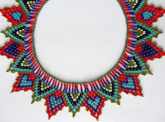 Peyote beaded HEARTS NECKLACE choker color -Red, Blue, Teal, Black and White…