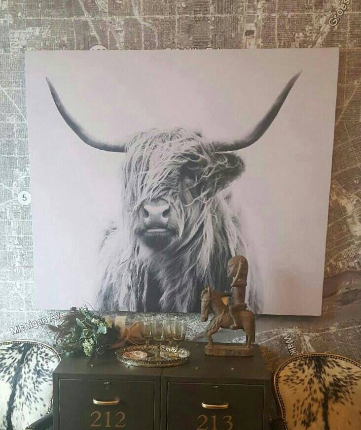Black and white photo tapestry stretched onto wooden frame Longhorn photography 55 x 47 by redesignrestoration on Etsy https://www.etsy.com/listing/510144919/black-and-white-photo-tapestry-stretched