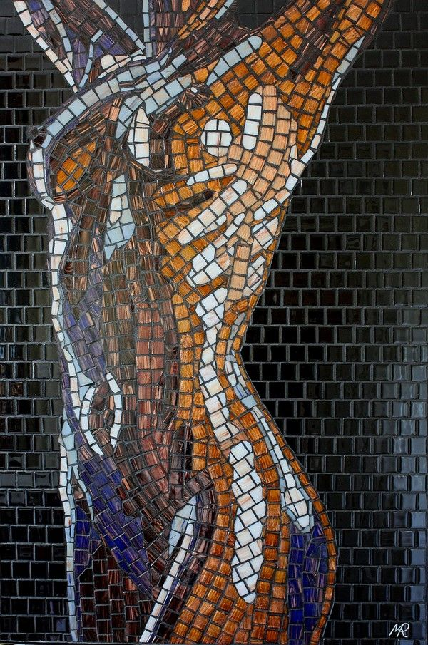 focal point for a bathroom-- Hand Crafted Glass Mosaics by Artist Mark Roberts
