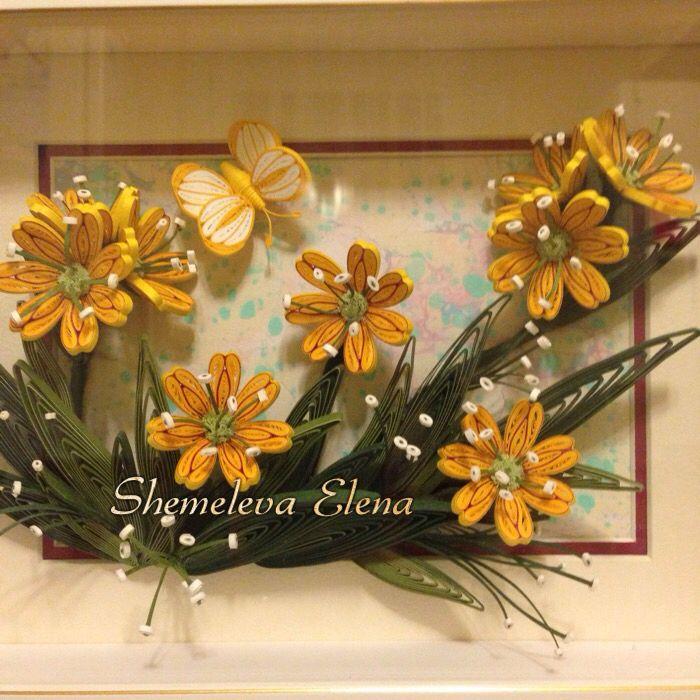 Просто жёлтые цветочки. Квиллинг - корейская бумага.