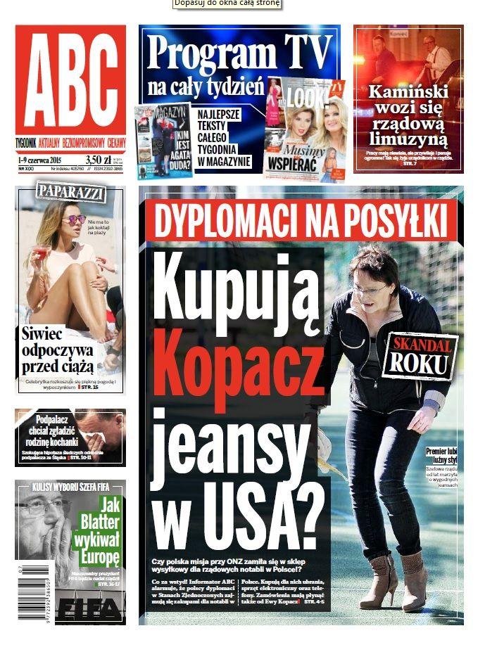 ABC nr 7/7 cover Kupują Kopacz jeansy w USA