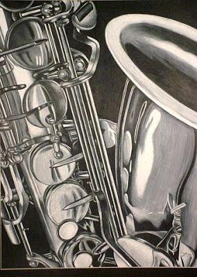 Saxophone drawing - Jessie Miller's Art