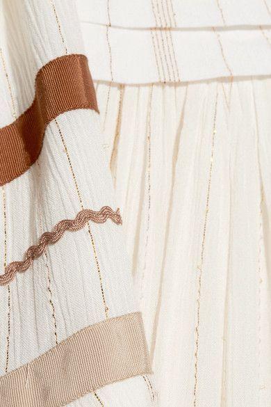Rachel Zoe - Annabel Grosgrain-trimmed Metallic Gauze Maxi Dress - Ecru - US12