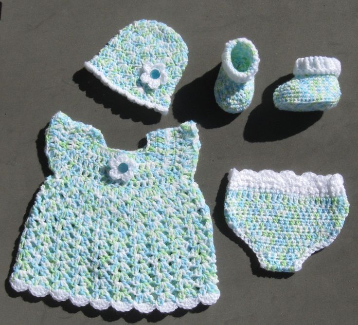 Baby Girl Sleeper Set Dress & diaper cover design by Abigail Goss.  Hat is from Amy's Creative Creations and booties are from Parker crochet.