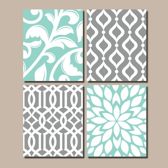 AQUA GRAY Bedroom Wall Art Trellis Pattern Swirl by TRMdesign