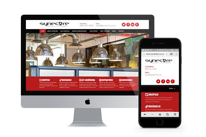 A new responsive website design, printed company brochure and advertising and ongoing SEO provided to Synecore