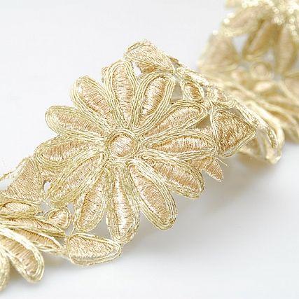 Porta lurex zlatá vzor květy asteraceae