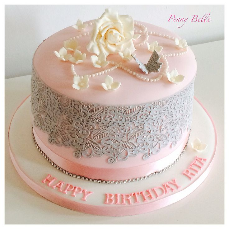 Pretty Pink Birthday Cake Decorated With Handmade Flowers And Cakelace