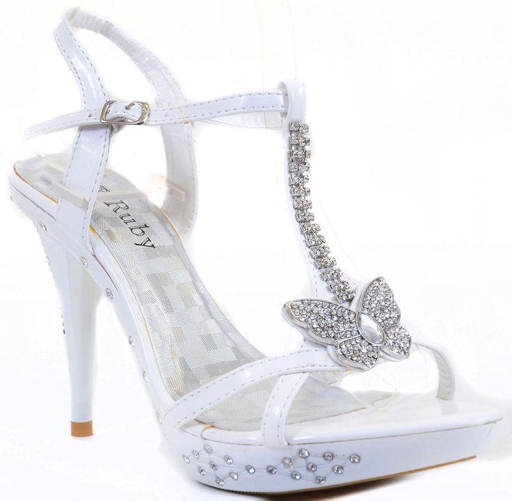 35 Fantastic Ideas Of Mermaid Wedding Dresses You Won T Be: Butterfly Jeweled White Formal Wedding Bridal Heel Sandal