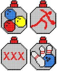 Bowling Plastic Canvas Ornament Pattern Set by PCDesignz on Etsy