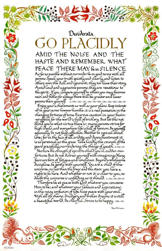 Desiderata Poem 11 X 17 Poster WILD FLOWER by DesiderataGallery
