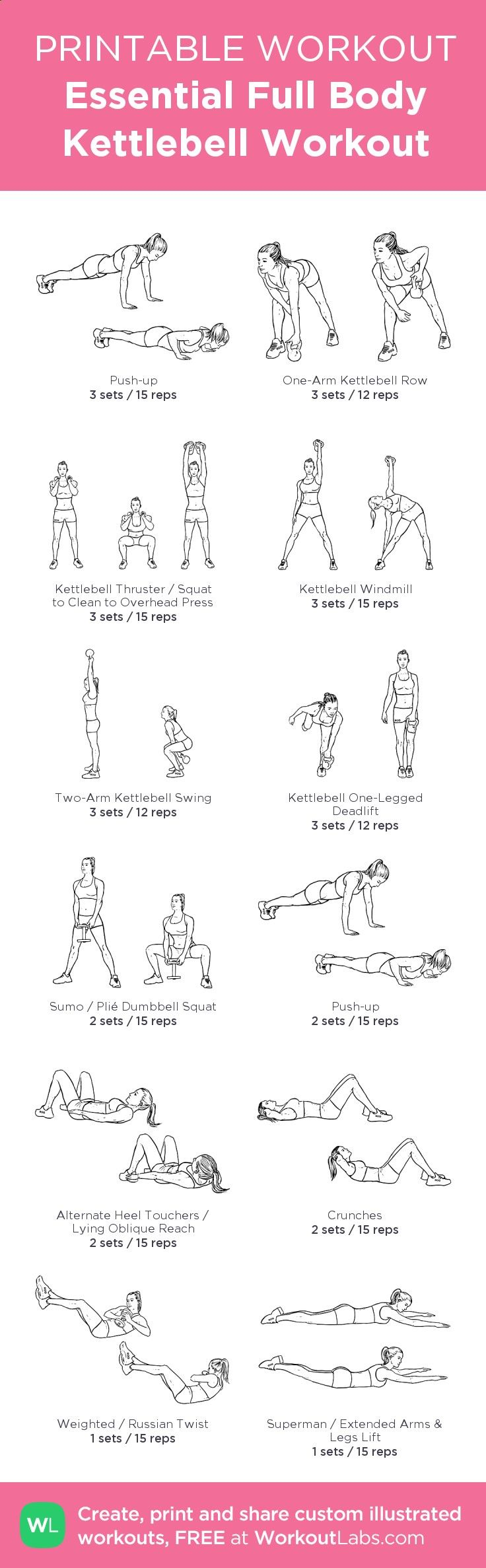 Essential Full Body Kettlebell Gym Workout with illustrated exercises. Download the FREE PDF at: wlabs.me/1u2CjXv