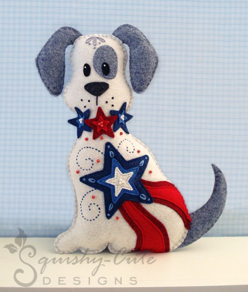 Stuffed Animal Pattern - Felt Plushie Sewing Pattern & Tutorial - Liberty the Patriotic 4th of July Dog - Embroidery Pattern PDF      From SquishyCuteDesigns