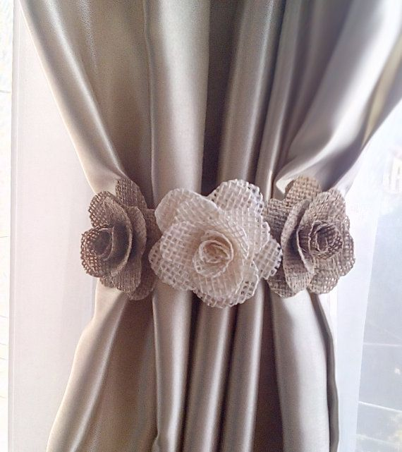 It is a Beautiful composition for curtaines,Perfect accessories and Original Gift for Fashion Room! 3D Flowers made from High Quality Natural Burlap. With this purchase youll get 2 pcs curtain tie back. Composition is 15 cm long.(6 inches) The tie backs is attached to curtain with