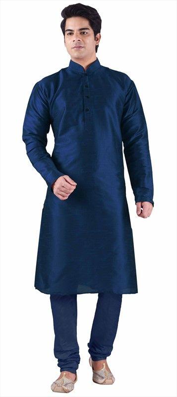 503341 Blue  color family Kurta Pyjamas in Silk cotton fabric with Thread work .