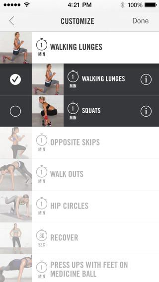 Nike+ Training Club –training app for female fitness Choose individual workouts, or a targeted, structured 4-week program to help you get lean, toned or strong. Customize workouts. See the results, and celebrate your progress with your friends .•Full-body 15, 30 & 45-minutes workouts •Step-by-step visual and video demos •Audio guidance... while working out •Your favourite workouts, training history and progress, instantly accessible •Workout music streamed from your music library