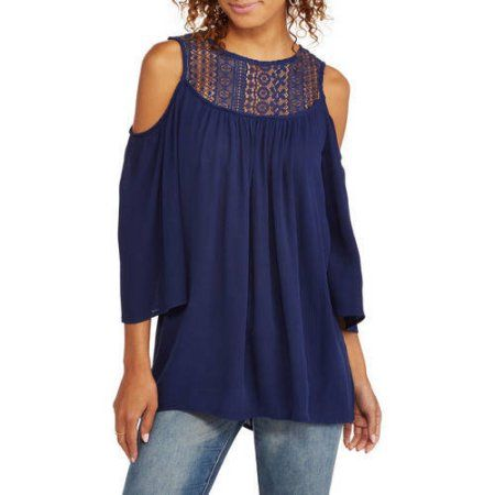Whoa, Wait Women's Cold Shoulder Blouse With Crochet Lace, Size: Medium, Blue
