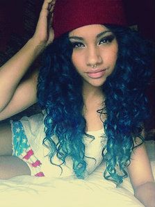 Blue Black Curly Hair