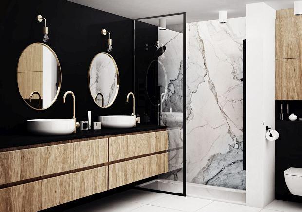 Biało Czarna łazienka Z Elementami Z Drewna łazienka W