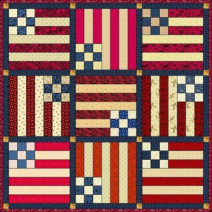 July 2000 Quilt - Americana Flag quilt block