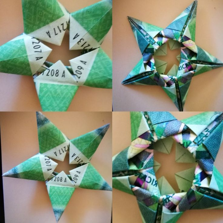 Folded origami star using South African 10 Rand note