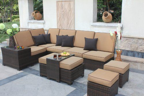 """9-pc Deep Seating Sectional Patio Furniture Set - Sepia Flat Wicker/Canvas Cork by Bellini. Save 12 Off!. $3699.99. 9-Piece Deep Seating Sectional Patio Set - Sepia Flat Wicker/Canvas CorkItem #W62109This fully concealed, all-aluminum set proves outdoor furniture can be both extremely comfortable and extremely stylish All items are hand-wovenCenter table features a rectangular glass top butler and cushioned ottoman with side storage compartmentSet features 6"""" thick sculpted seat cush..."""