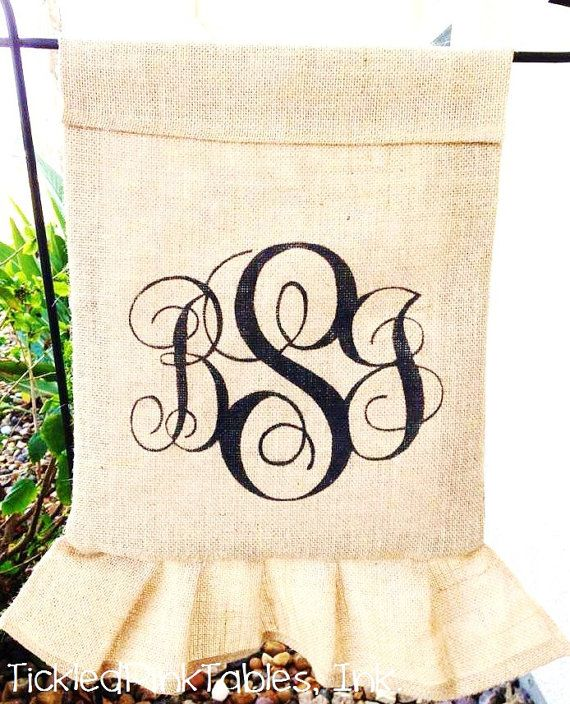 Monogrammed Burlap Yard Flag- Custom Burlap Yard Flag on Etsy, $34.99