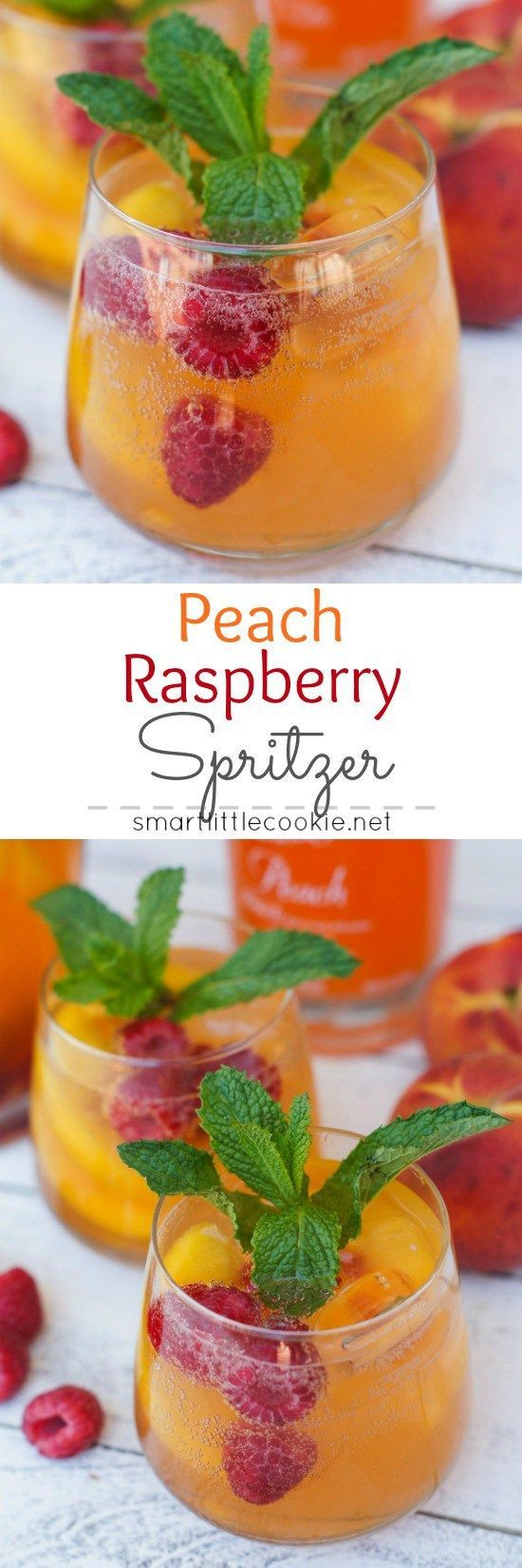 This Peach Raspberry Spritzer is the perfect summery drink for backyard…