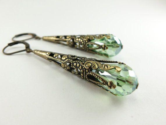 Amber Earrings Brass Filigree Leverback Teardrop by Jalycme