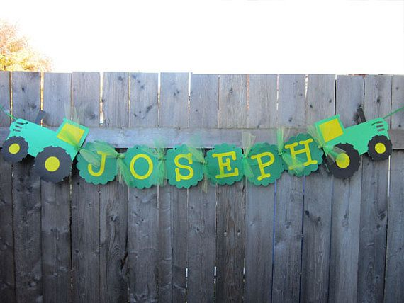 This listing is for a Farm Tractor Birthday Party Name Banner. You can use it on a wall as a decoration, as a backdrop, or as a decoration throughout