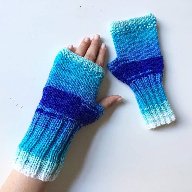 Blue Mittens, Knitted Fingerless Mittens, Mittens, Knit Fingerless gloves, , Long Arm Warmers, Hand Warmers, Boho Glove, Accessories by…