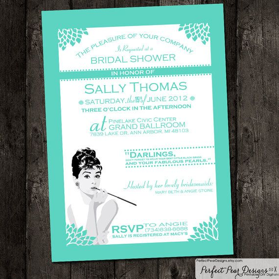 Breakfast at Tiffany's inspired Bridal Invitation - Tiffany Blue and White - Set can be customized to any Color Theme on Etsy, $16.00