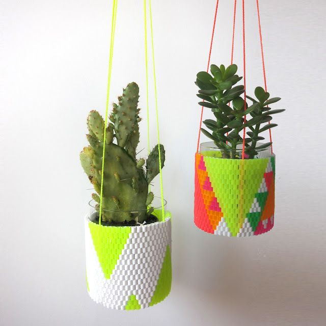 fluo: Plants Can, Plants Hangers, Hanging Plants, Perler Beads, Hama Beads, Hanging Planters, Hanging Gardens, Hanging Pots