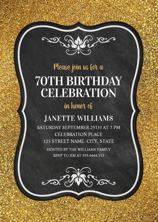 Glitter Adult 70th Birthday Party Invitations Chalkboard Gold Invitation Templates Elegant Custom