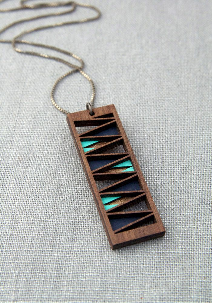 Bronze Turquoise and Navy Three Layer Walnut Wood Pendant on Sterling Silver Chain.