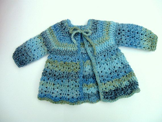 7bfb843f17c4 Baby Sweater - Handmade - Size 0 to 3 Months - in Smokey Blue - Gray ...