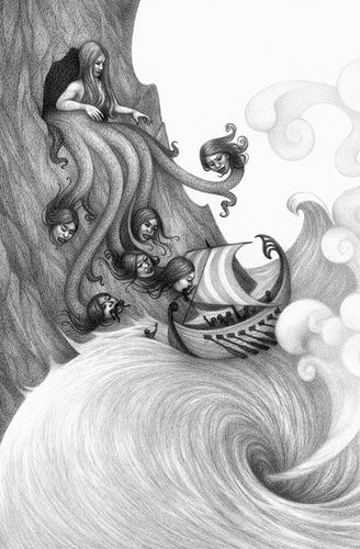 Epic Journey - Personally one of my favorite components of reading is being able to imagine the characters. I enjoy comparing and contrasting the image in my head to the ones people have drawn. This picture displays an image of Charybdis and Scylla. Scylla is clearly described by Circe in book 12.