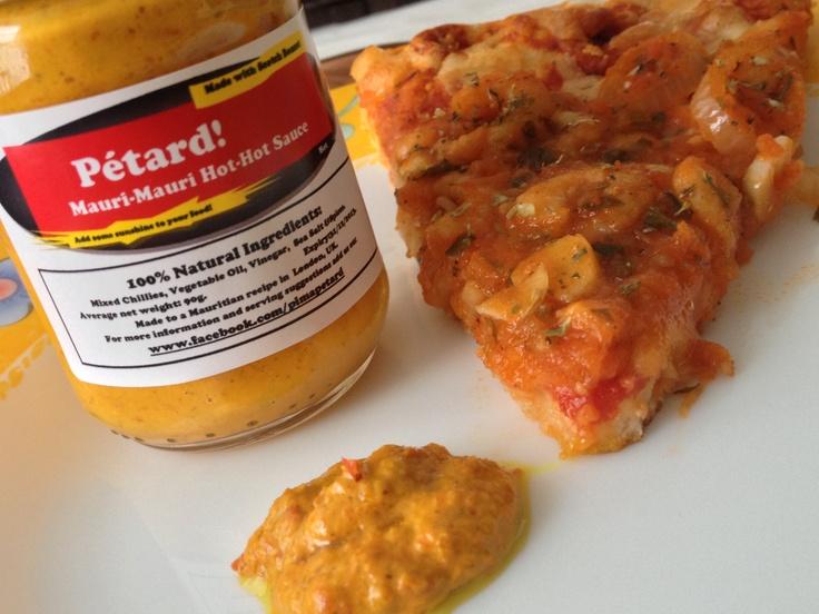 Prawn and fungi pizza served with Mauri Mauri Hot Hot Sauce... Yummy!