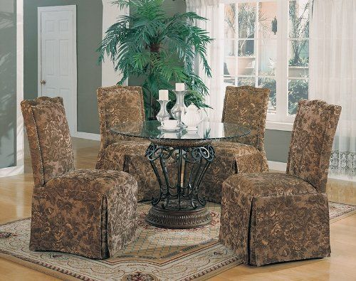 "5pc Luxury Terracotta Finish Round Dining Table & Green Floral Parson Chairs Set by Coaster Home Furnishings. $886.56. Some assembly may be required. Please see product details.. Dining and Kitchen. Dining and Kitchen->Dining Room Sets->Parsons. Table: 45""Dia 29""H, Side Chair: 20-3/4""W 34-1/2""D 42""H. 5pc Luxury Terracotta Finish Round Dining Table & Green Floral Parson Chairs Set This is a brand new 5 pieces luxury dining table set. Set is designed with black metal and poly in t..."