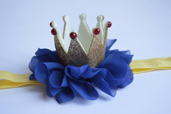 Snow White Baby Crown  Blue and Gold Baby Crown by Moonpennieskids
