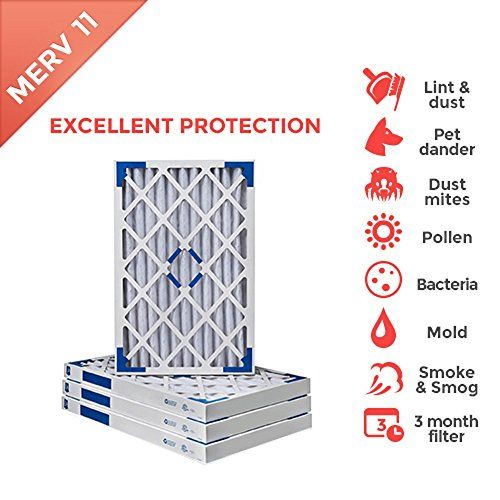 4 PACK of #20x25x2 AC Furnace Air Filter #MERV 11 | Actual Size: 19-1/2 x 24-1/2 x 1-3/4 | The MERV 11 Electrostatically charged filter provides superior air filt...