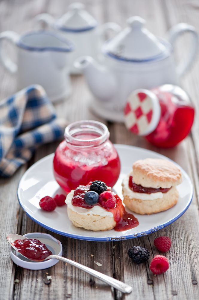 afternoon tea with fresh berries, jam and scones