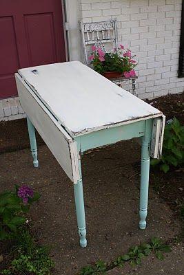 Primitive U0026 Proper: Farm Table In Aqua And White