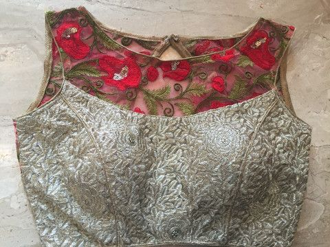 Silver brocade designer blouse with floral embroidery work